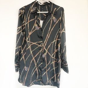 NWT Zara Chain Print Shirt Dress Size Small